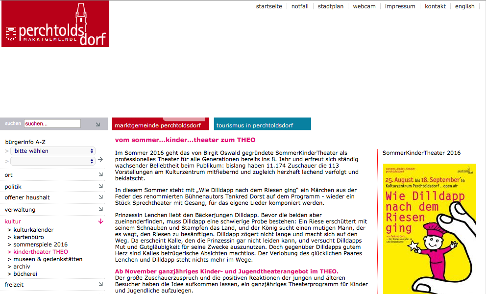 Screenshot Perchtoldsdorf Website