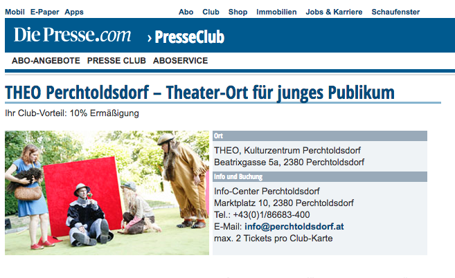 Screenshot DiePresse Club Website